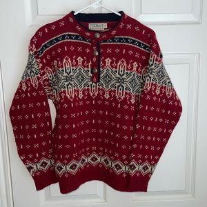 Vtg LL Bean fair isle wool blend sweater